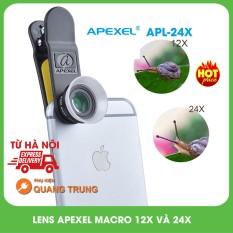 Bộ ống kính lens Apexel chụp ảnh cho điện thoại chụp macro 12x và 24x, cam kết hàng đúng mô tả, chất lượng đảm bảo, an toàn cho người sử dụng
