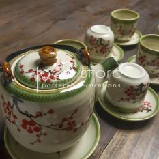 Ấm trà Bát Tràng dáng vại quai nhôm nhiều cách vẽ (Bộ ấm chén trên không kèm khay)