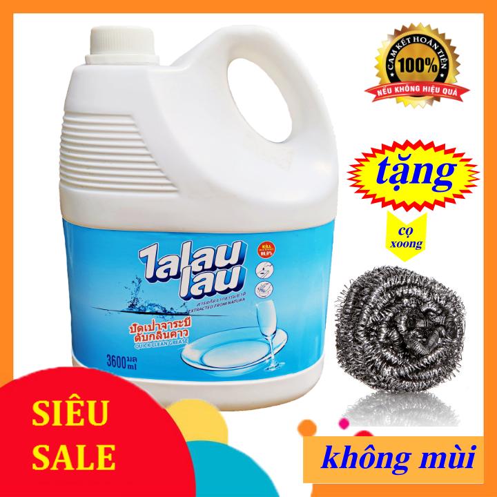 [ Khuyến mãi cọ xoong ] – Nước Rửa Chén Không Mùi Công Nghệ Thái Lan Talaulau 3.6L