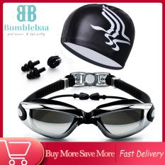 Bumblebaa Bộ kính bơi tráng gương chống mờ chống nước, mũ bơi, kẹp mũi silicon, nút bịt tai cho người lớn – INTL