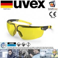Kính Uvex 9190220 I-3 Safety Glasses Sand Frame Amber Supravision HC-AF Len Gọng phối Đen Vàng Tròng Vàng Mơ (tặng kèm hộp đựng kính)