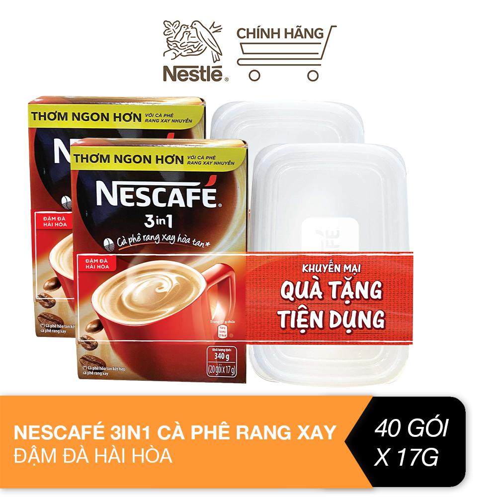 [Tặng 2 hộp nhựa tiện dụng] Combo 2 hộp Nescafé 3in1 cà phê rang xay hòa tan đậm đà hài...