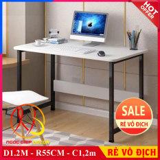 [ SALE ] Bàn làm việc, bàn học, bàn gaming rộng rãi, chân thép sơn tĩnh điện siêu bền, dễ dàng lắp đặt, mặt bàn gỗ dày 17mm