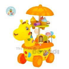 Bộ đồ chơi xe đẩy cửa hàng bán kem trục xoay có đèn, có nhạc cho bé trai và bé gái – Thị trấn đồ chơi