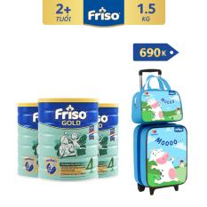 [Freeship toàn quốc] Bộ 3 lon sữa bột Friso Gold 4 1.5kg + Tặng bộ Vali túi trị giá 690K