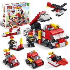 Đồ chơi trẻ em lego lắp ráp xếp hình cho bé 6 tuổi Đội cứu hỏa Fire Brigade Team 6in1 Lele Brother 8553