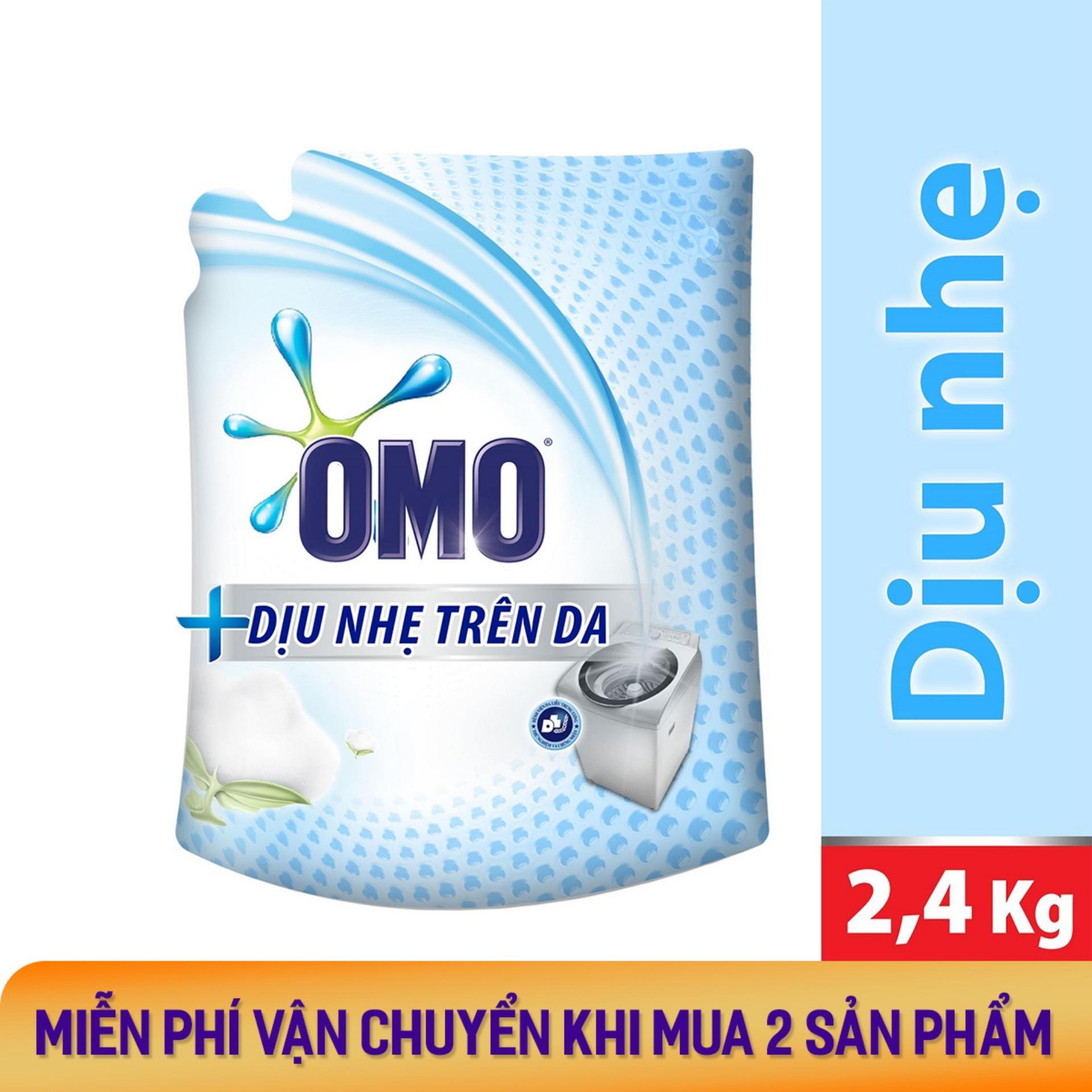 Nước giặt Omo Dịu Nhẹ Trên Da túi 2.4kg