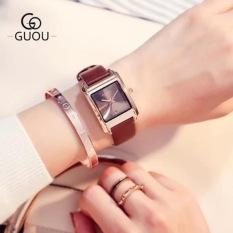 Đồng hồ nữ mặt vuông dây da thời trang trẻ trung, năng động GUOU GU8089
