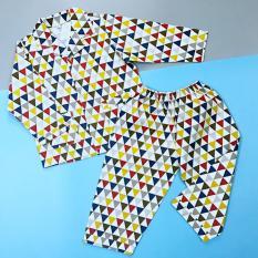 Pijama cho bé vải cotton hút mồ hôi Họa tiết tam giác cho bé 10-40kg