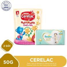 Mua 2 Gói bánh ăn dặm dinh dưỡng Nestlé CERELAC Nutripuffs vị Chuối Dâu – 50g Tặng 1 gói tã Pampers 4 miếng size M và Voucher 50K cho đơn hàng mua tã 499K
