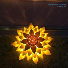 Đèn ốp trần bằng gỗ hình hoa sen + tặng kèm bóng 60w