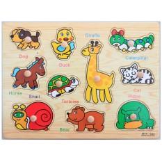 Bảng gỗ ghép hình học tập cho bé ( có núm gỗ , hình chữ cái, số đếm, phương tiện, động vật,…) giúp bé tăng khả năng nhận biết, phát triển toàn diện