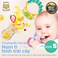 Chuông lắc cho bé Núm ti hình trái cây Núm ti nhai trái cây hay rau củ Bé nhai cắn thỏa thích