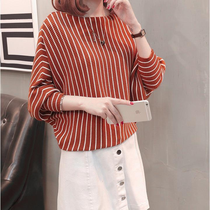 Áo len nữ Form rộng tay dài Hàn Quốc phối sọc big size năm 2021