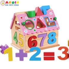Đồ chơi ngôi nhà toán học thả hình màu hồng cho bé