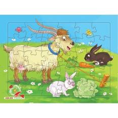 Tranh xếp hình cho bé, 30 mảnh ghép khổ A4, chủ đề trang trại, Tia Sáng Việt Nam, Đồ chơi trí tuệ cho bé từ 3 tuổi
