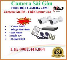 Trọn bộ 1 đầu ghi hình Camera 4 KÊNH 5 trong 1 FULL HD 1080P huyền thoại DAHUA DHI-XVR1A04 + 2 Camera thân FULL HD 1080P DAHUA DH-HAC-HFW1200SP + 1 ổ cứng 250GB + 2 Nguồn12V + 4 Rắc BNC + 1 dây HDMI