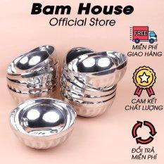 Bộ 10 tô inox Bam House 2 lớp cách nhiệt 16cm cao cấp T02 – Bam House