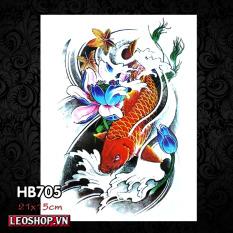 Hình Xăm Dán Cá Chép Hóa Rồng Các Loại (21x15cm)
