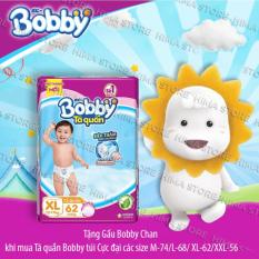 [Tặng kèm gấu Bobby Chan] Tã/Bỉm quần Bobby (rãnh thấm kim cương) gói siêu lớn XL-62 miếng (12 – 17kg)
