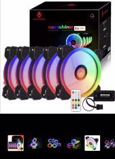 Bộ 5 Fan case Led RGB Dual Ring + Bộ Hub và Remote Coolmoon Sunshine II – Hỗ Trợ Aura Sync