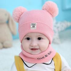Mũ len trẻ em 2 quả bông kèm khăn quàng cổ cho bé dưới 3 tuổi