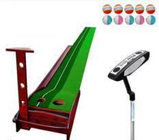 [ComboBỘ TẬP GOLF] Thảm và Gậy tập golf trong nhà PGM loại 3m+ thảm tập golf tiêu chuẩn sân golf Tạng kèm 10 bóng. Chất liệu khung Gỗ sồi nga