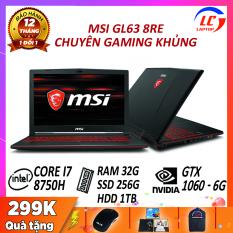 Laptop Gaming Chuyên Nghiệp, Laptop Chơi Game MSI GL63 8RE, i7-8750H, Chip 12 Luồng, Card Rời Nvidia GTX 1060-6G, Màn 15.6 FullHD 120Hz, Laptop Gaming