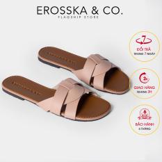 Dép đi biển thời trang Erosska quai ngang đan chéo kiểu dáng đơn giản đế bệt DE028 (NU)