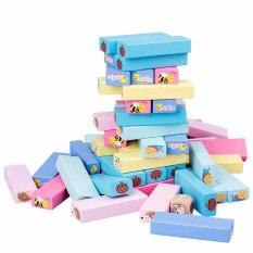 Bộ đồ chơi rút gỗ nhiều màu cỡ lớn in hình con vật 51 thanh, đồ chơi rút gỗ loại lớn kích thước 28 x 8.5 x 8cm