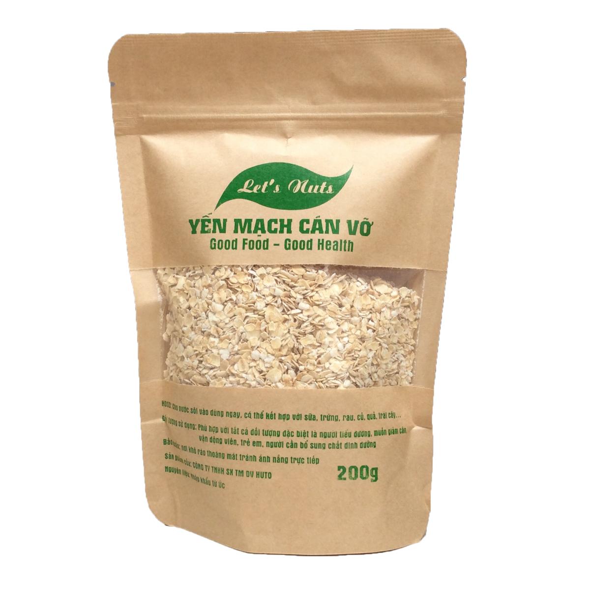 Hạt yến mạch cán vỡ Let's Nuts làm ngũ cốc giảm cân, bột yến mạch, người tập gym, bổ sung chất dinh dưỡng túi 200g Let Nuts