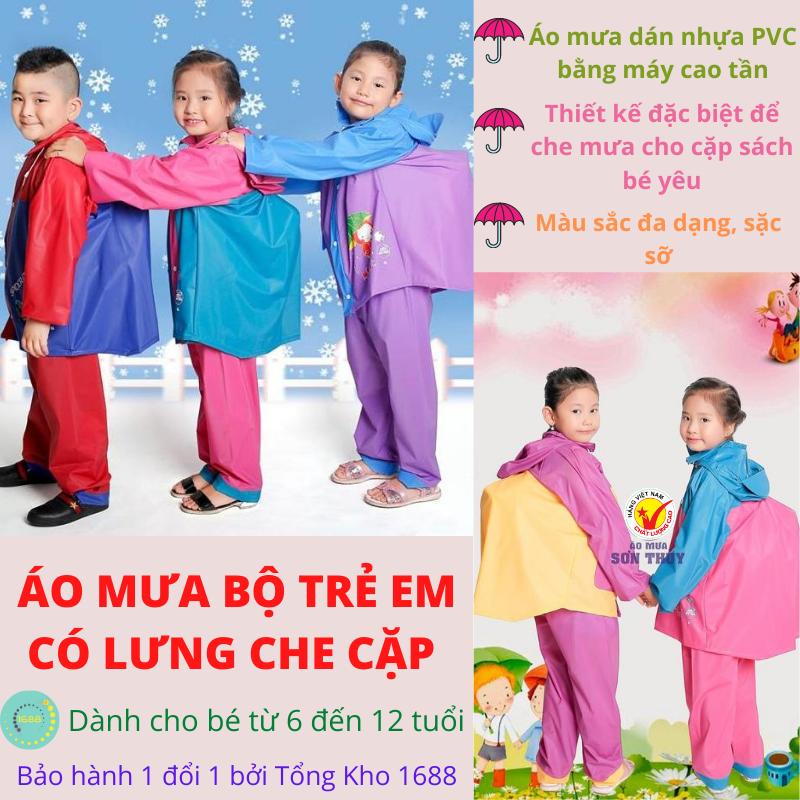 Áo mưa cho bé, Áo mưa bộ, Bộ quần áo mưa có lưng che cặp trẻ em – Bộ quần áo mưa trẻ em Sơn Thủy có che cặp sách cao cấp- Đủ SIZE cho các bé – Chất liệu PVC có độ bền cao – Bảo vệ tốt cho bé và cặp sách.