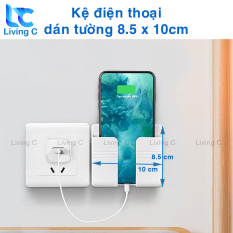 Giá đỡ điện thoại dán tường Living C, kệ đựng remote điều khiển có sẵn miếng dán tường KDT