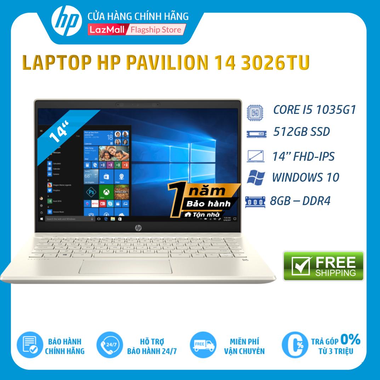 [Trả góp 0%] Laptop HP Pavilion 14-ce3026TU, Core i5-1035G1(1.00 GHz,6MB),8GB RAM DDR4,512GB SSD,Intel UHD Graphics,14″FHD,Wlan ac+BT,3cell,Win 10 Home 64,Gold,1Y WTY-8WH93PA – Hàng Chính Hãng