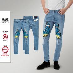 Quần Jean nam họa tiết bướm Skinny Butterfly Blue form slimfit, mặc thoải mái – FEAER DENIM