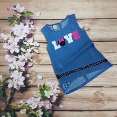 đầm váy jean thêu chữ love bé gái