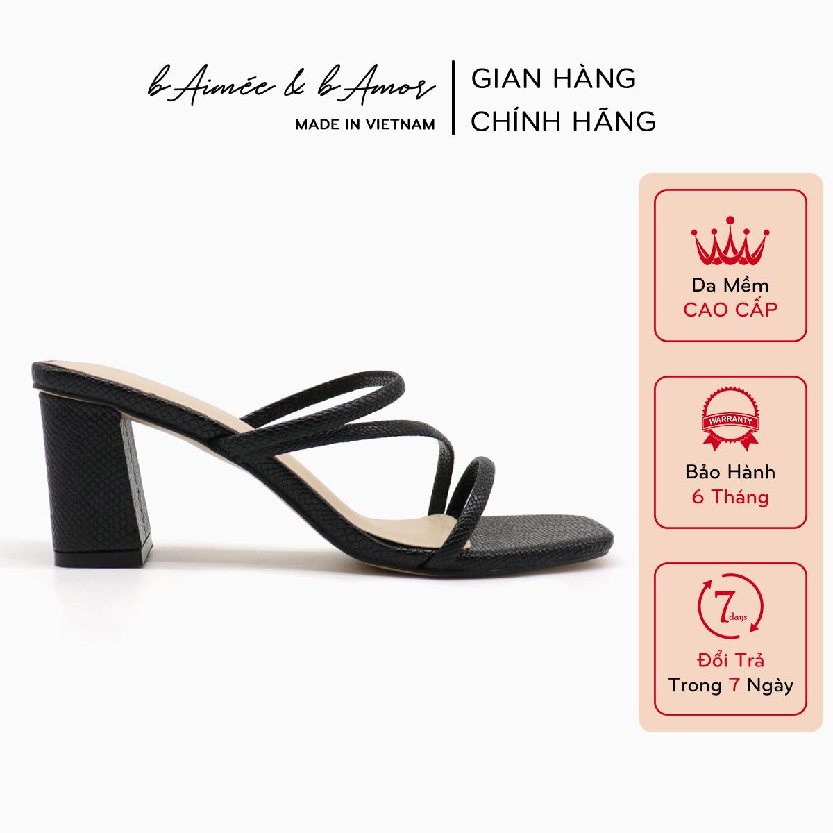 Giày cao gót sandal nữ 7p đẹp thời trang đế vuông dây mảnh mũi vuông cao cấp bAimée & bAmor...