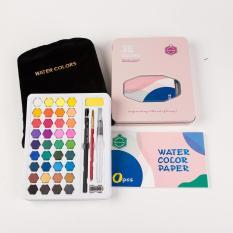 Bộ màu nước chuyên nghiệp keep smiling – set 36 màu ,hộp thiếc, tặng kèm phụ kiện .