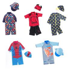 (CHỌN MẪU) Bộ bơi bé trai kèm nón, đồ bơi liền thân có mũ, áo tắm 1 mảnh dày dặn chống nóng chống lạnh dễ thương cho bé