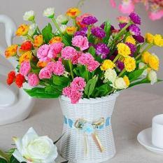 Cành 18 bông hoa cẩm chướng lụa cao cấp- HG33 – Hoa cẩm chướng Giả