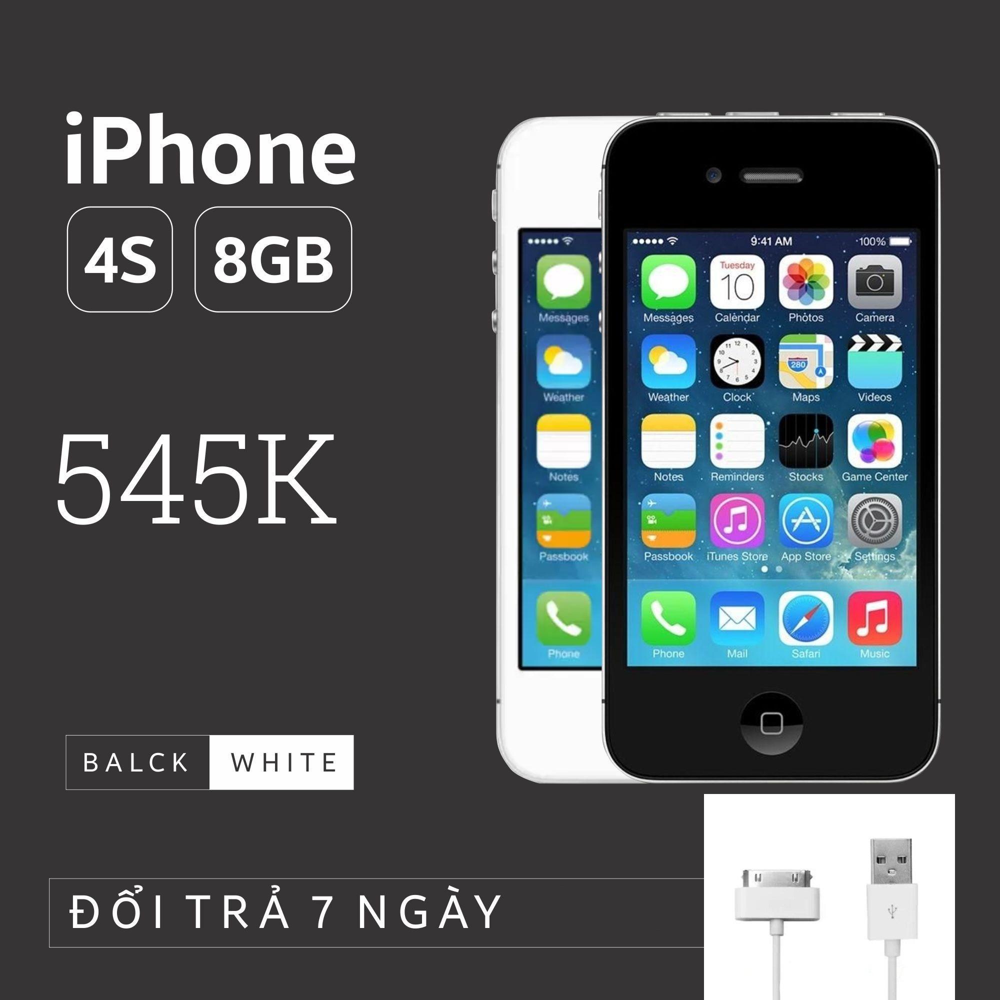 Điện thoại IPHONE 4S-8GB phiên bản quốc tế - Bao đổi trả - Màu ngẫu nhiên - Tặng cáp sạc...