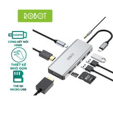 [Bảo Hành 12 tháng] Bộ chuyển đổi 9in1 ROBOT HT390 type-c cổng kết nối USB 3.0/ HDMI/PD/SD/TF/VGA/AUX cho Macbook bộ chuyển đổi máy tính Matebook USB 3.0 – HÀNG CHÍNH HÃNG