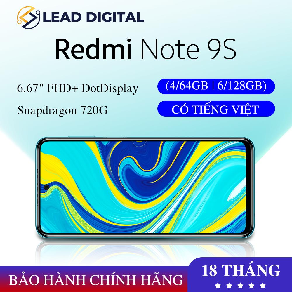TRẢ GÓP 0% | [BẢN QUỐC TẾ] Điện thoại Xiaomi Redmi Note 9S 4GB/64G | 6GB/128GB – FULL TIẾNG VIỆT, Snapdragon 8 nhân 720G, Màn hình 6.67″ , Pin khủng 5020mAh sạc nhanh 18W, Camera 48MP góc siêu rộng – BH 18 tháng
