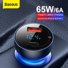 Bộ tẩu sạc xe hơi Baseus 65W Dual USB Sạc nhanh QC 4.0 3.0 cho Huawei SCP QC4.0 QC3.0, Samsung, iPhone , Laptop