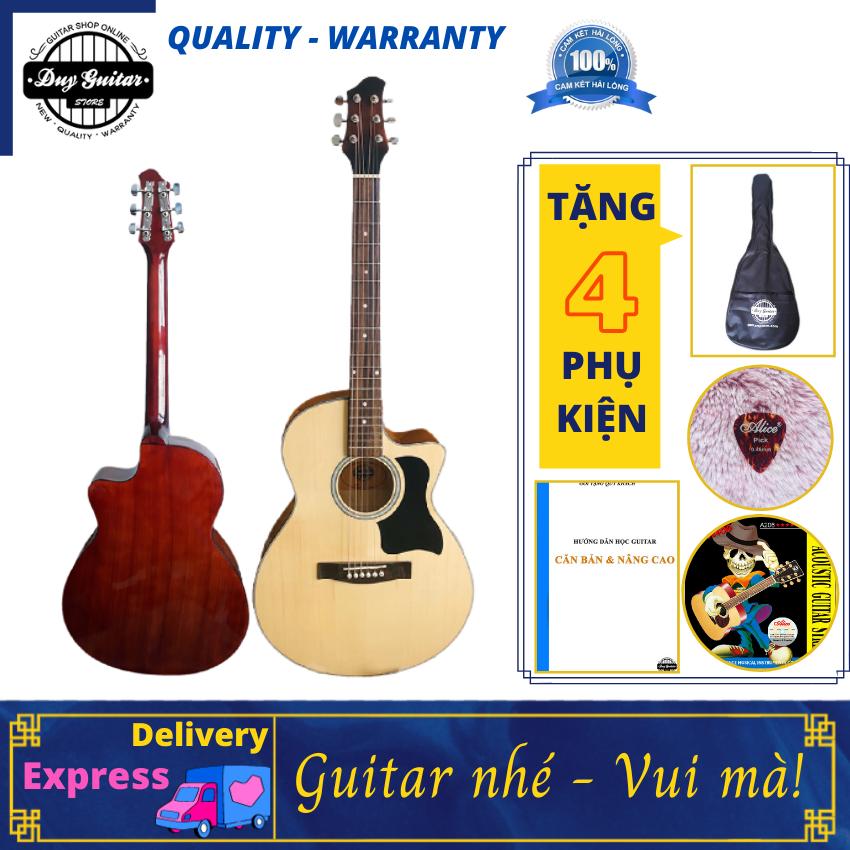 Đàn guitar acoustic dáng khuyết DVE70 Duy Guitar Store đàn guitar giá rẻ cho sinh viên đệm hát Âm thanh vang sáng Cần đàn thẳng Action thấp bấm êm tay