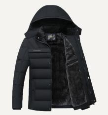 Áo khoác nam trung niên chất phao có mũ thời trang aokhoacphao-AKN73 đen