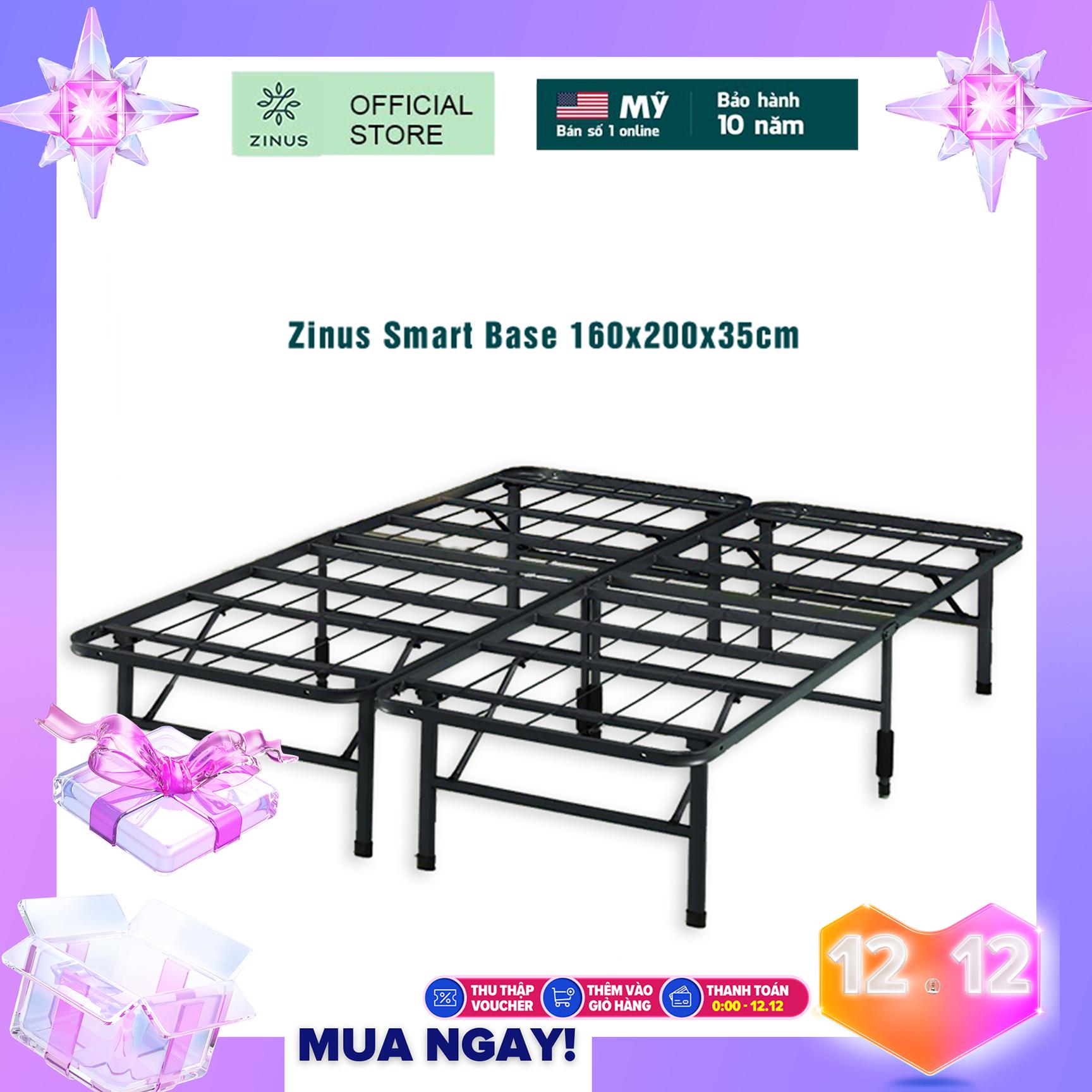 [FREESHIP TP.HCM CHO ĐƠN 2TR5]Giường Sắt Xếp Thông Minh Zinus Smart Base 160x200x35cm