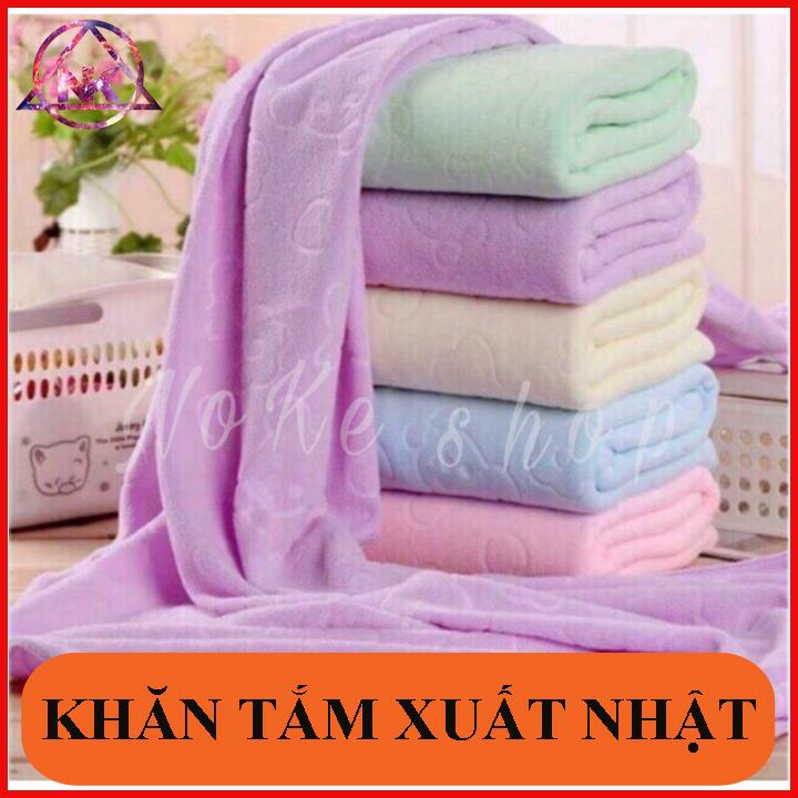 Khăn tắm xuất nhật cao cấp, mền, mịn, thấm nước tốt ( kích thước 140cm*70cm ) giao nhiều màu khác...