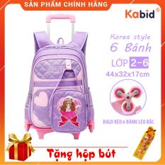 [Mẫu Hot Mới ]Balo kéo học sinh 6 bánh xe PRINCESS- Balo kéo cho bé kèm Ví xách tay xuất HÀN- chất liệu chống thấm nước họa tiết công chúa dễ thương+Tặng áo trùm balo 45L+ set dụng cụ học tập ý nghĩa
