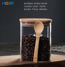 Hủ đựng gia vị thủy tinh HOBBY LTT1 – 3 size tùy chọn – loại nắp kín kèm muỗng